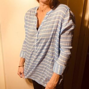 Xl Lt Blue & White Striped Shirt